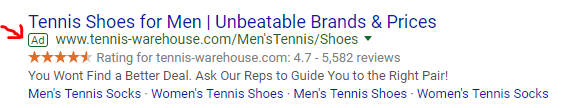 screen shot of Google ad for mens tennis shoes
