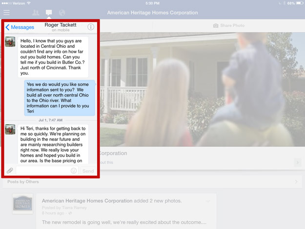 facebook screen shot showing how a prospect started a conversation
