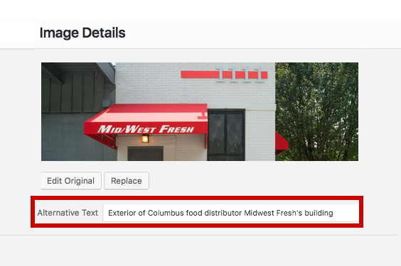 alternate text field by columbus oh website design firm sevell.