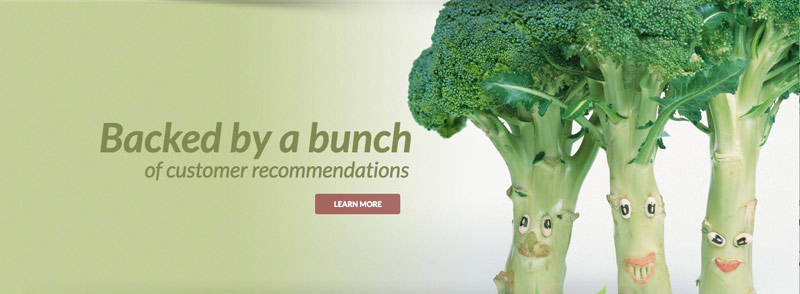 bunch of broccolli with faces for columbus food distributor midwest fresh