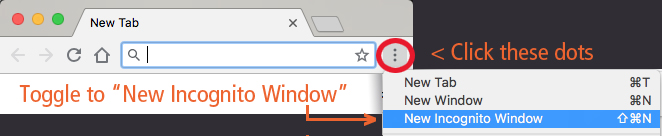 screenshot for how to use Chrome New Incognito Window
