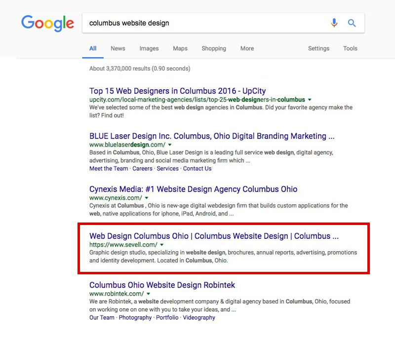 screen shot Google search results showing results for Columbus website design keywords