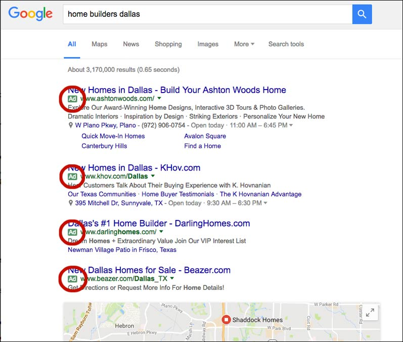 Google search results page from Columbus web design firm
