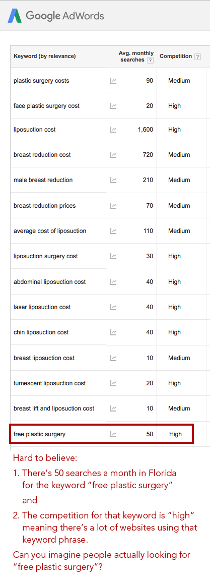 Google keyword searches for plastic surgery prices by Columbus SEO firm Sevell
