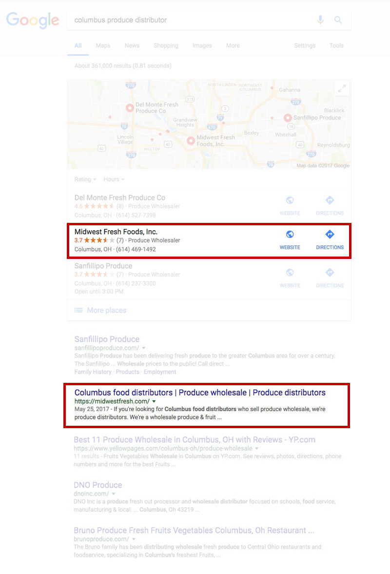 Screen shot of Midwest Fresh's Google search results by Columbus SEO firm Sevell.