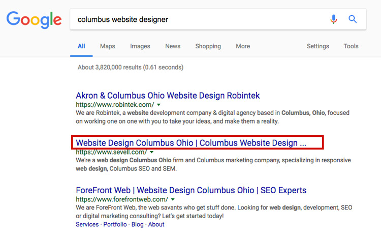 Google search results page for Columbus website designer