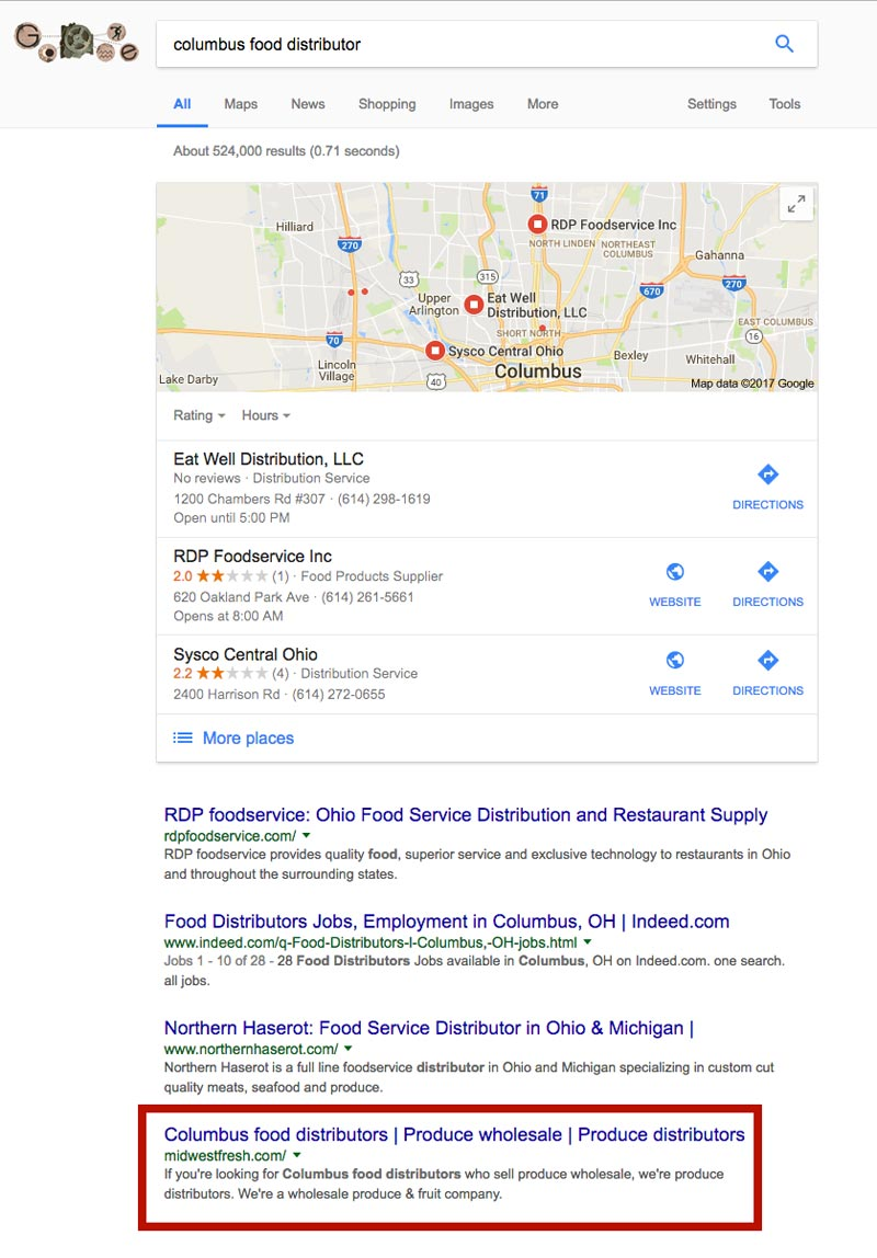 screen shot of google results for midwest fresh keywords showing them on page 1