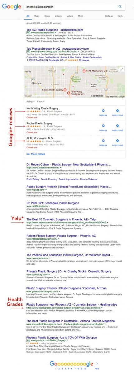 Google search results as show by plastic surgeon web design firm Sevell