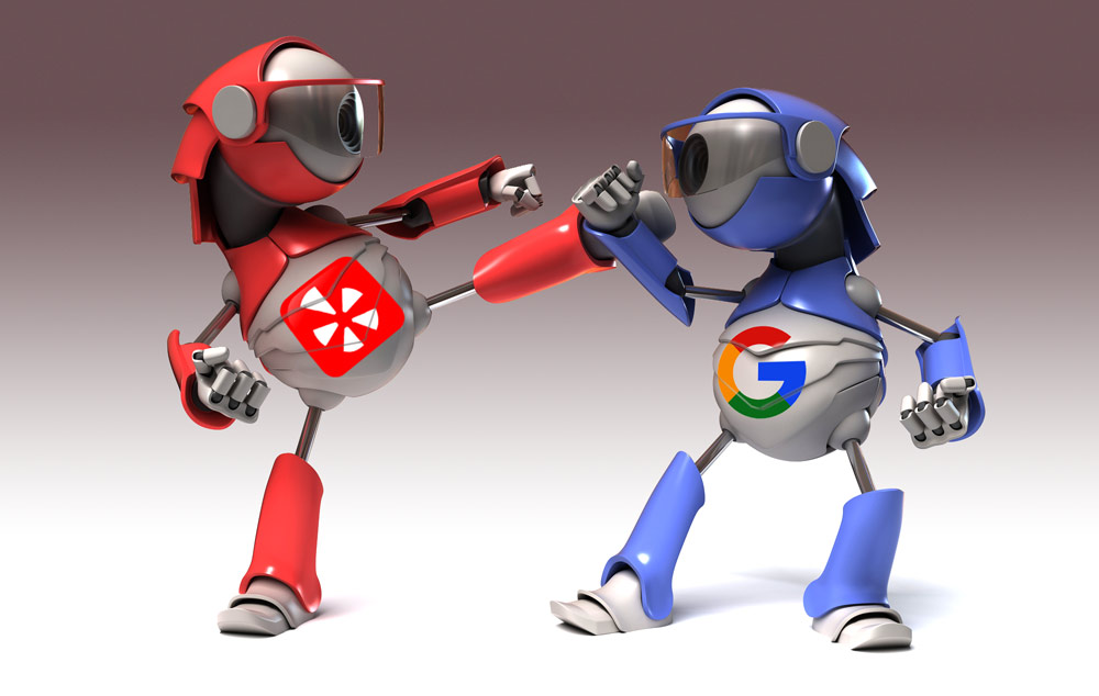 robots battling with Yelp and Google logos on them by Columbus Oh web design guys.
