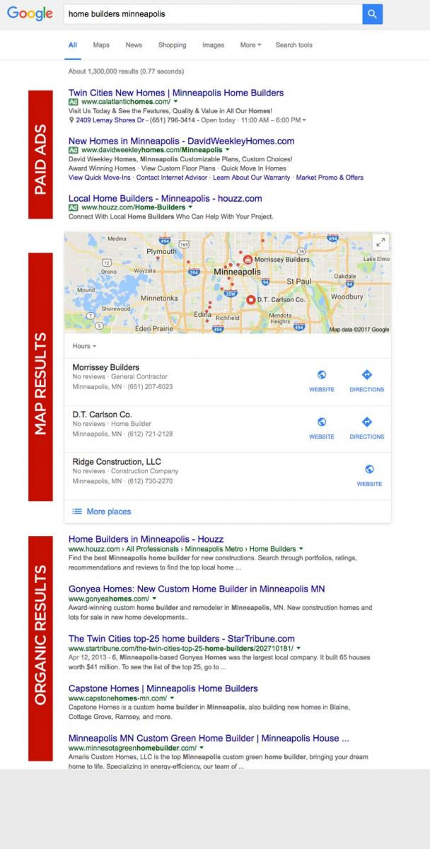 google home builder search results page by Columbus web design firm