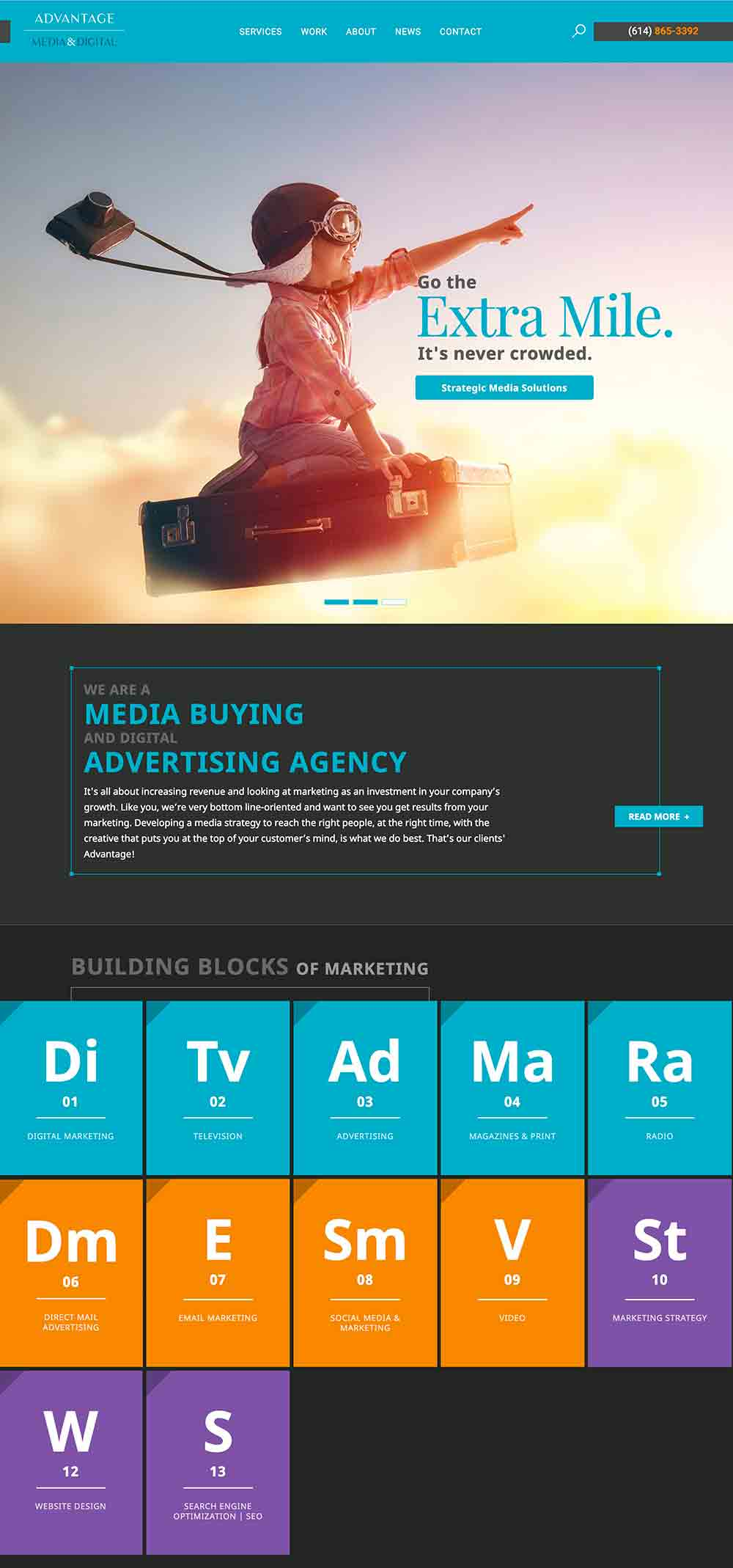 Advantage Media's homepage, designed by Columbus Oh website design firm Sevell