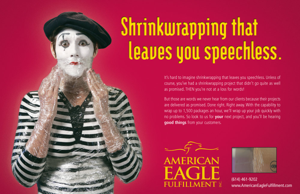 image of Mime shrink-wrapped so they can't speak