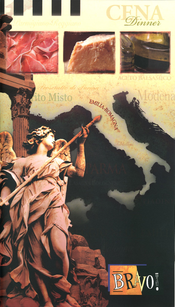 menu cover shoing map of Italy and marble sculpture