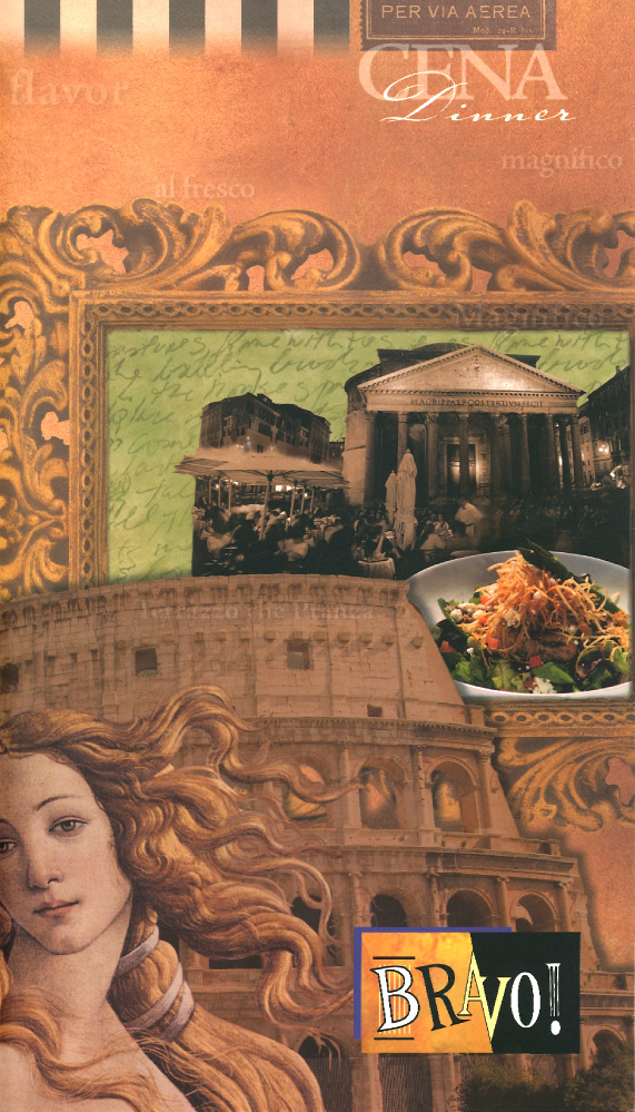 Italian menu cover with Roman colliseum on it