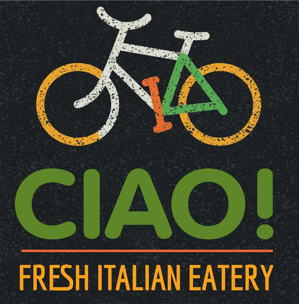 illustration of bicycle incorporating teh word CIAO into the wheels and frame