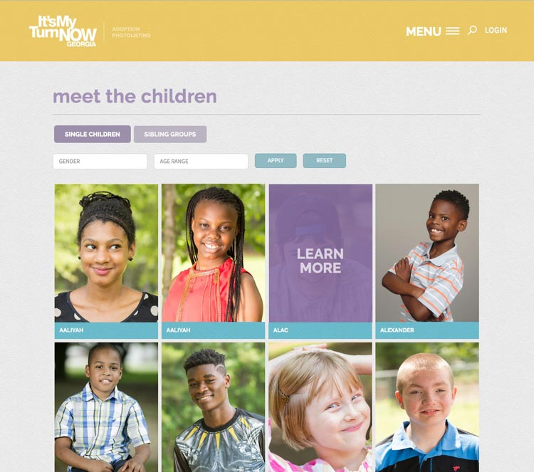 Columbus web design for kids listing page