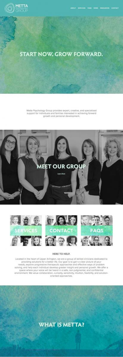 Columbus web design firm's homepage design for Metta Psychology