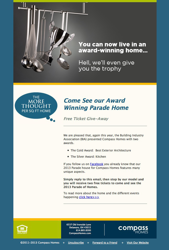 email for Compass Homes award-winning homes