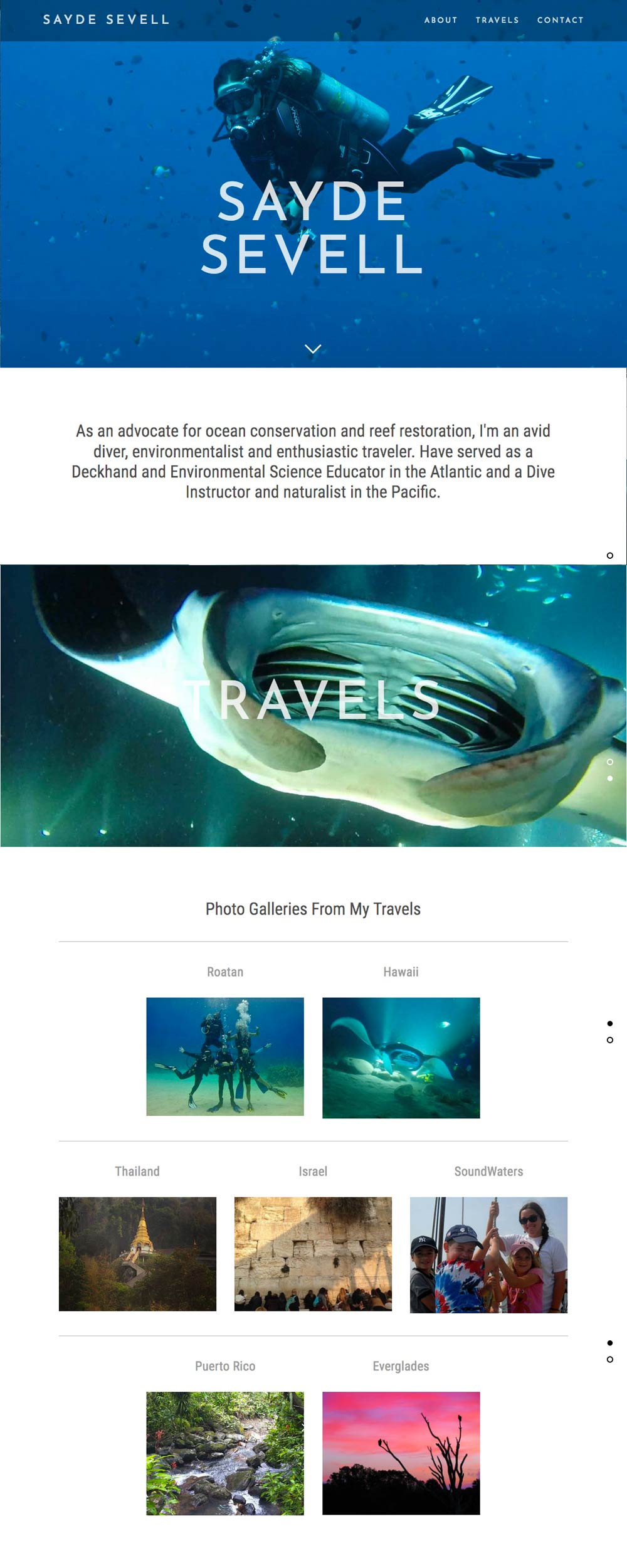 dive instructor home page by Columbus SEO firm Sevell.