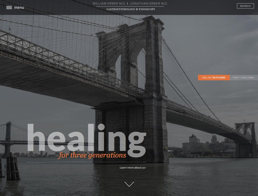 Columbus website design firm's Dr. Erber homepage of the Brooklyn Bridge