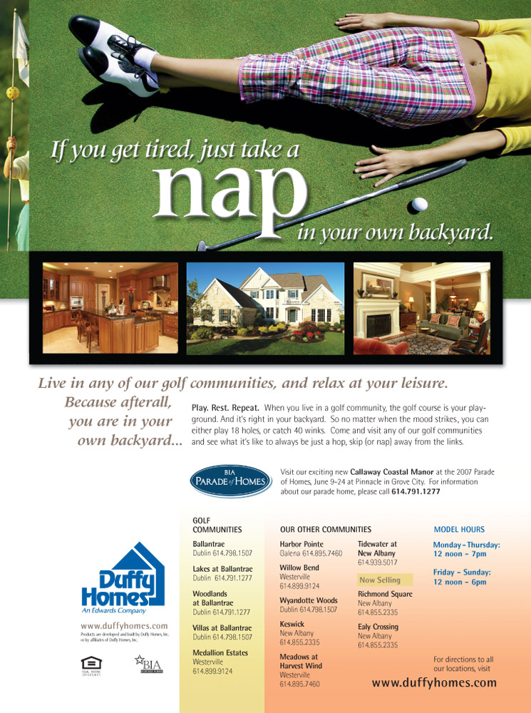 young golfer napping on greens designed by Columbus Ohio web design firm Sevell
