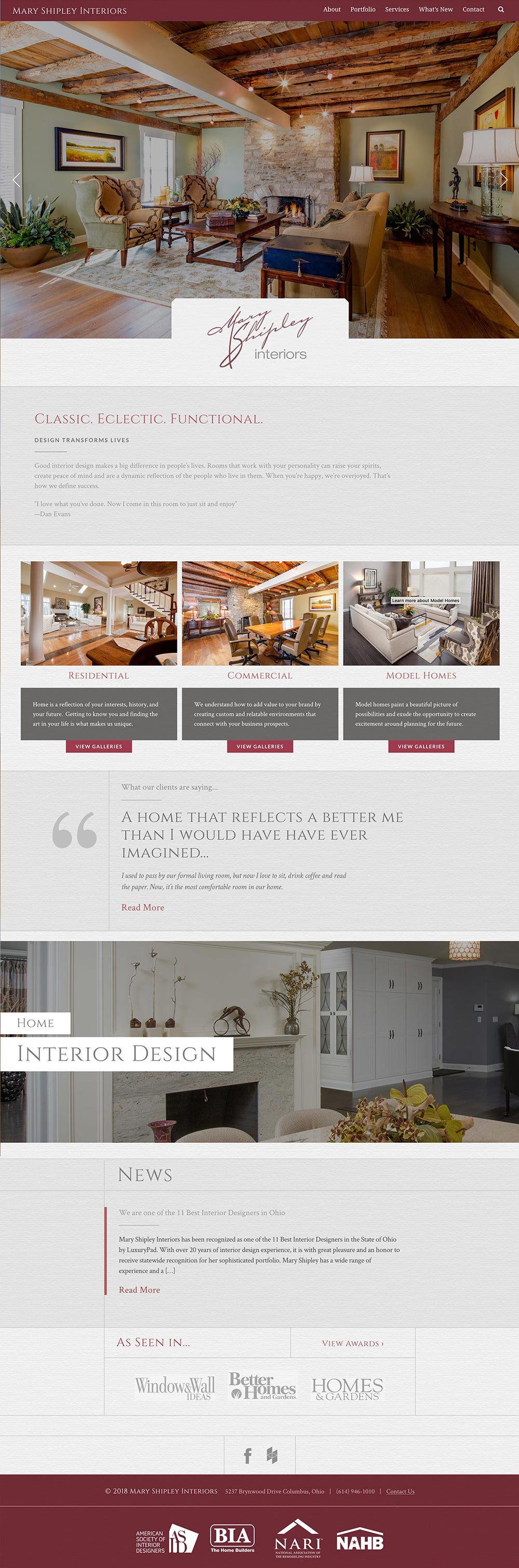 homepage design from Mary Shipley Interior Designer website