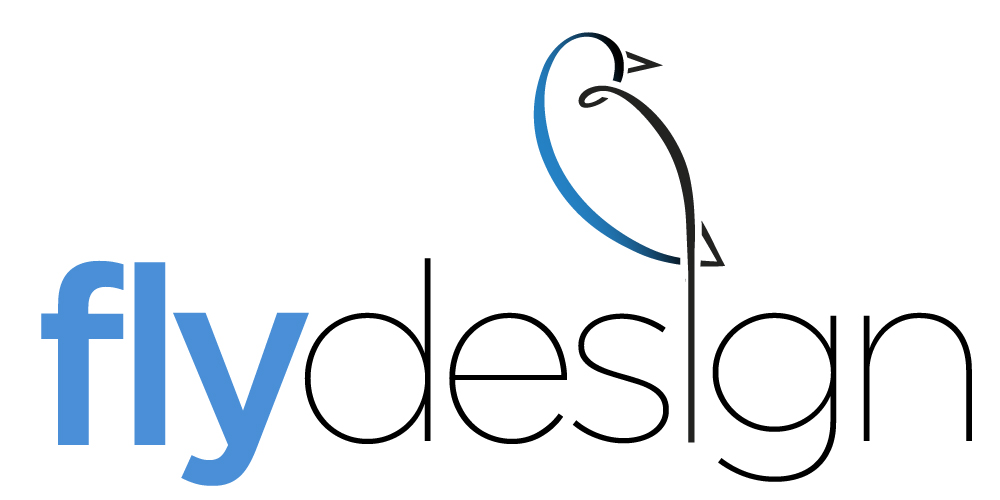 fly design logo with bird sitting atop the word design