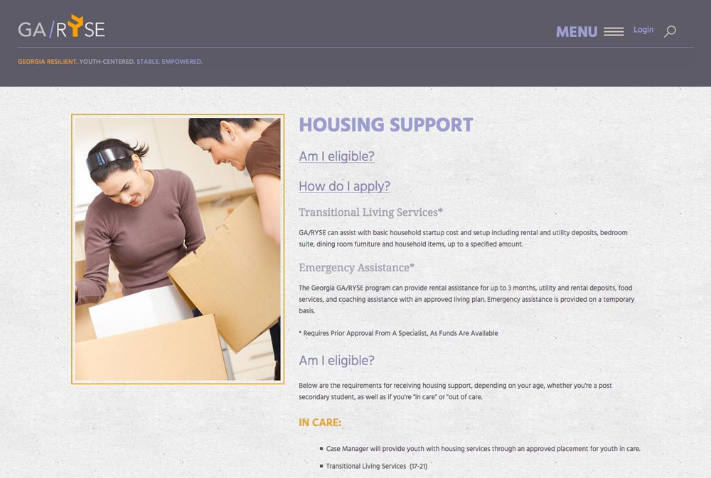 Housing page from GA-RYSE website, by Columbus website designers