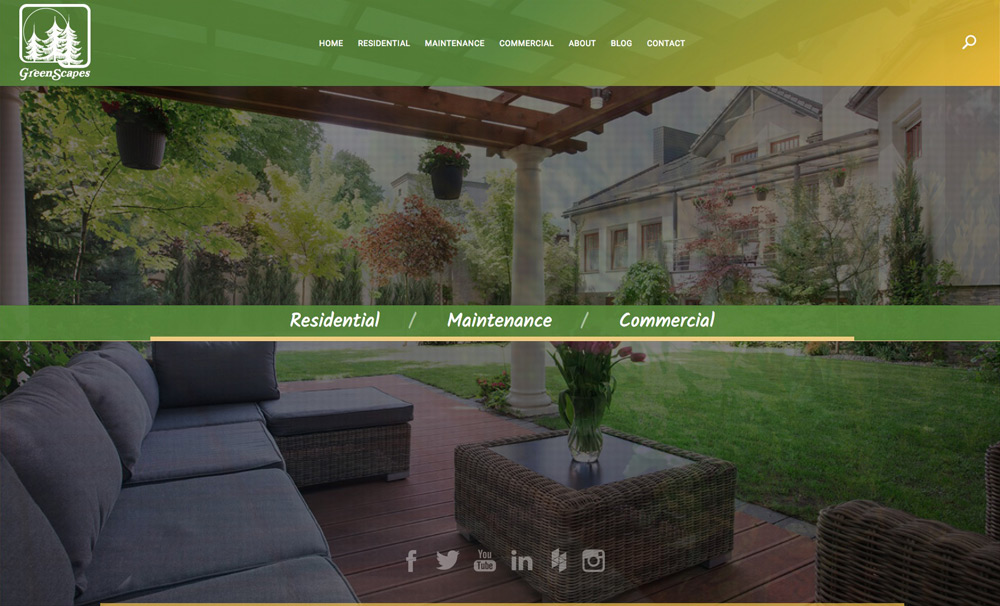 Greenscapes homepage design by Columbus website design firm Sevell
