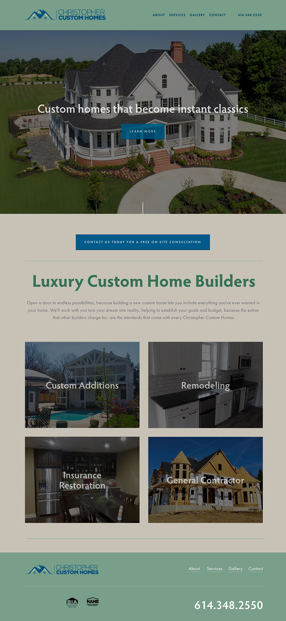 homepage for Christopher Custom Homes