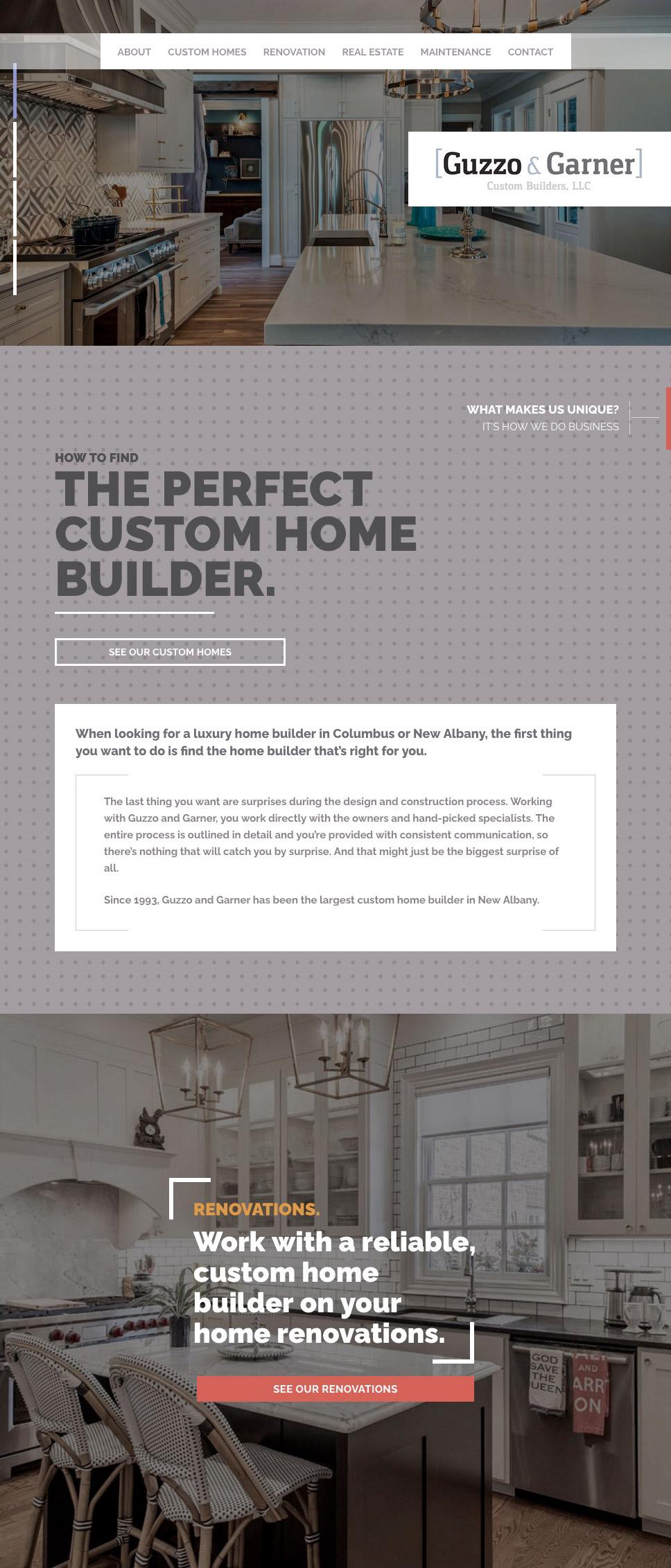 homepage of Columbus luxury home builder website