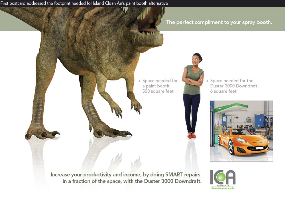 Columbus marketing firms' image of T-rex vs person showing footprint for paint booth alternative
