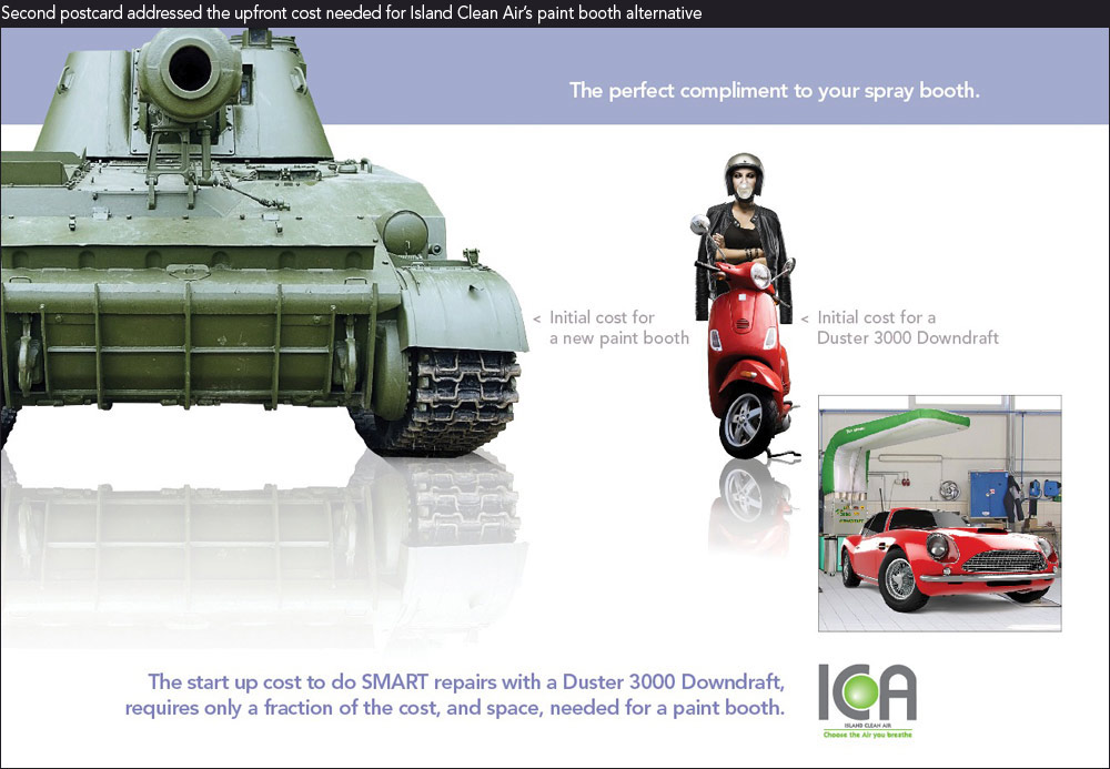 Columbus marketing company shows image of tank vs scooter showing upfront costs for paint booth alternative