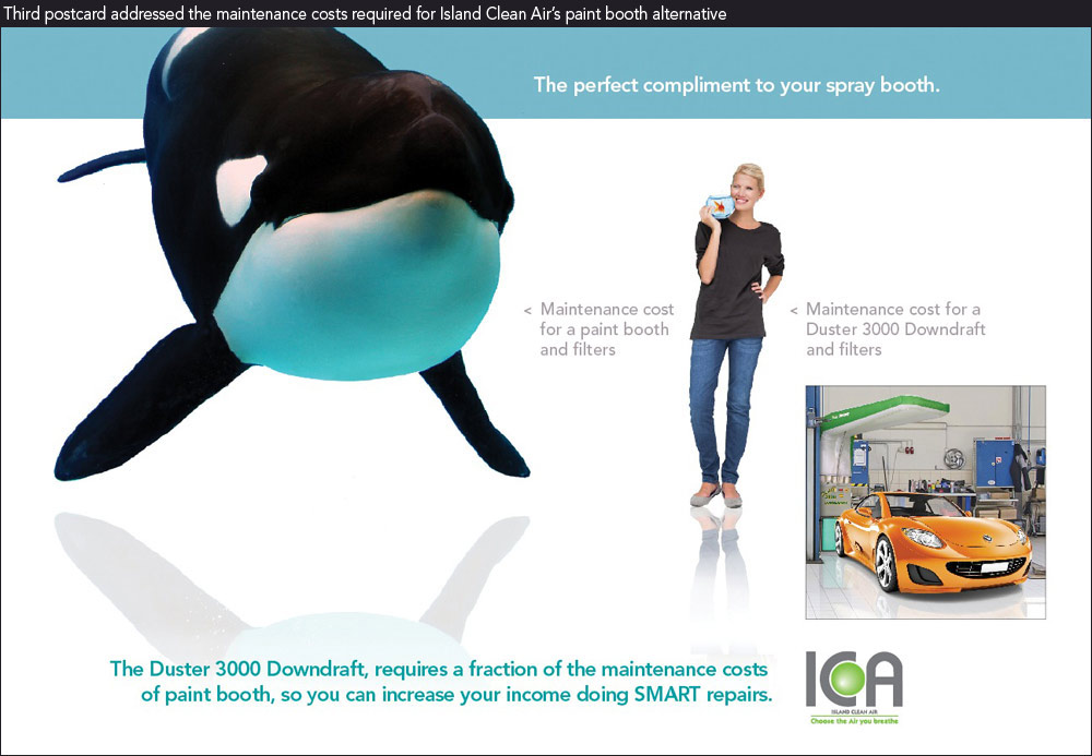Columbus marketing studio's pcard showing killer whale vs goldfish as maintenance costs for paint booth alternative