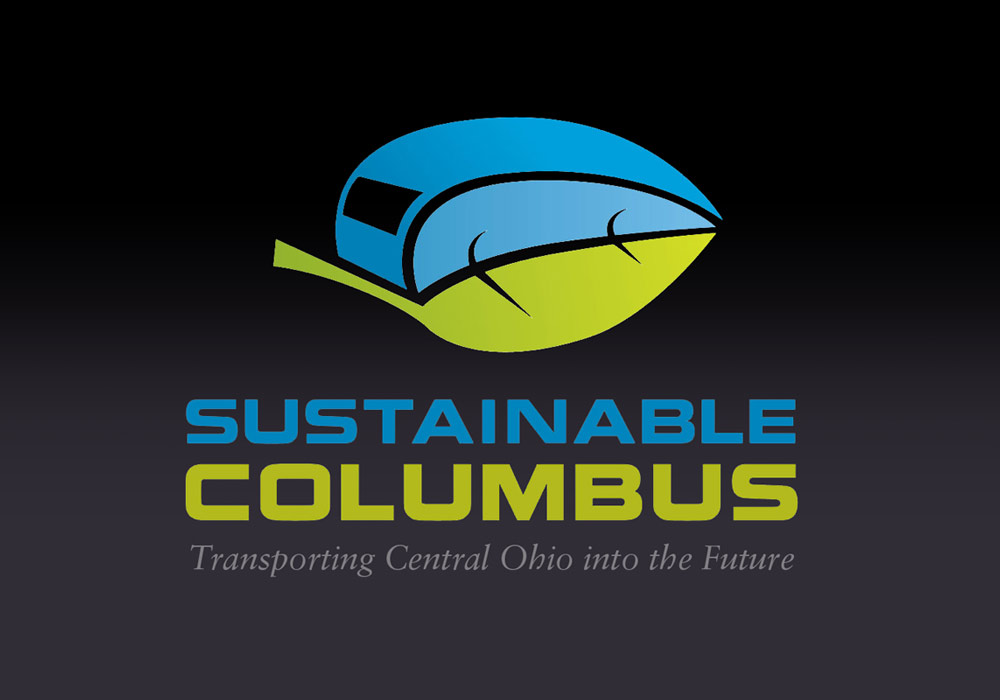 logo made up of abstract street car and leaf