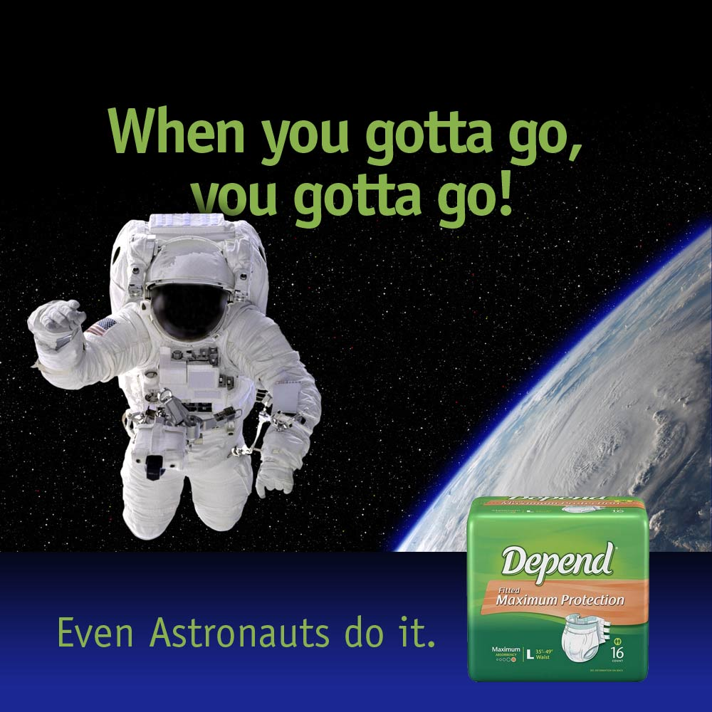 ad for Depend adult diaper showing astronaut in space
