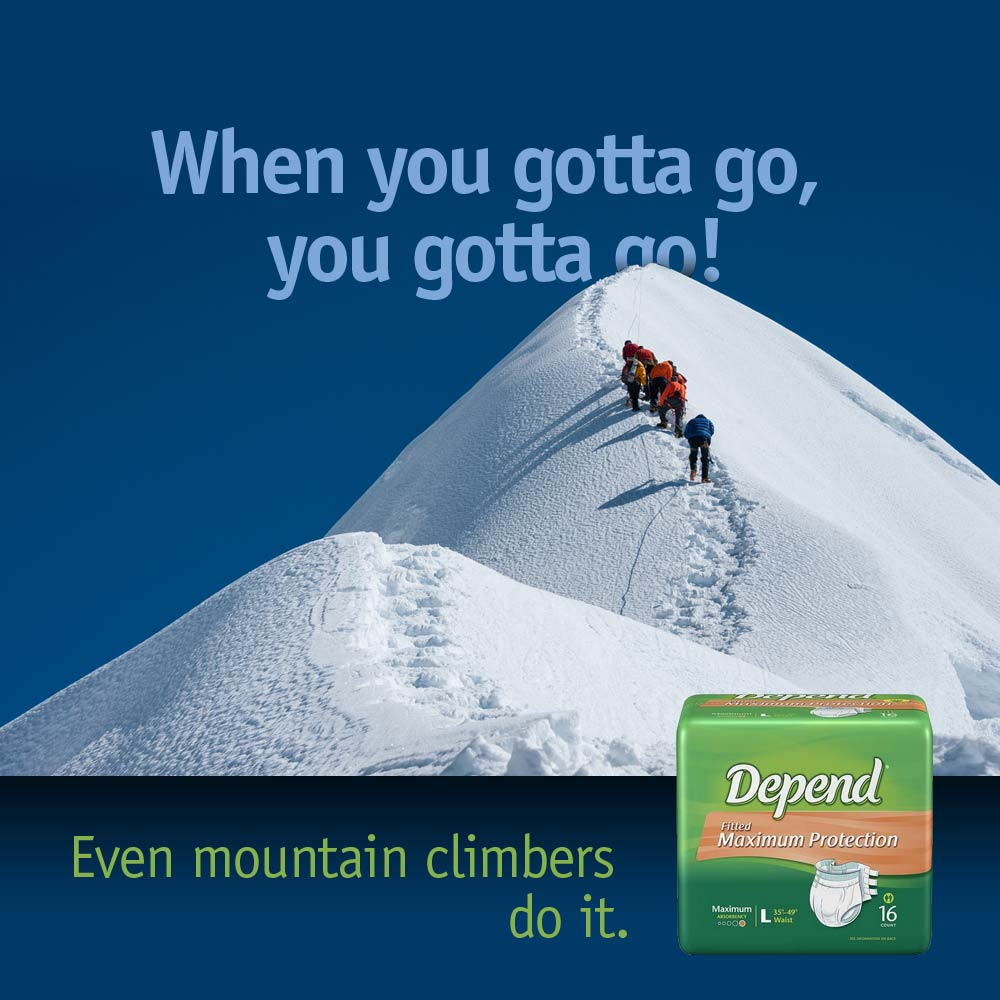 ad for Depend adult diaper showing people trekking snow covered mountain