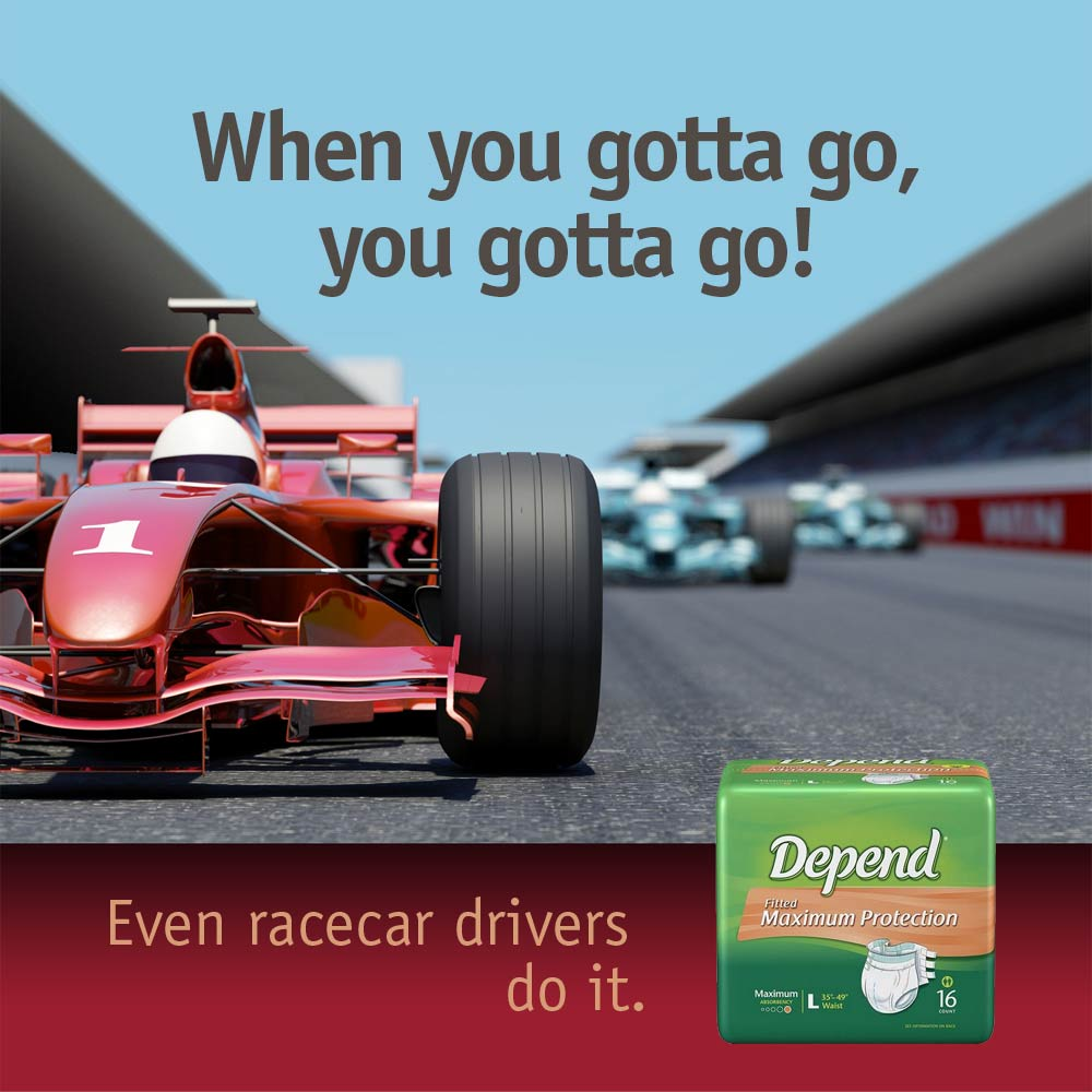 ad for Depend adult diaper showing racecar driver on the track