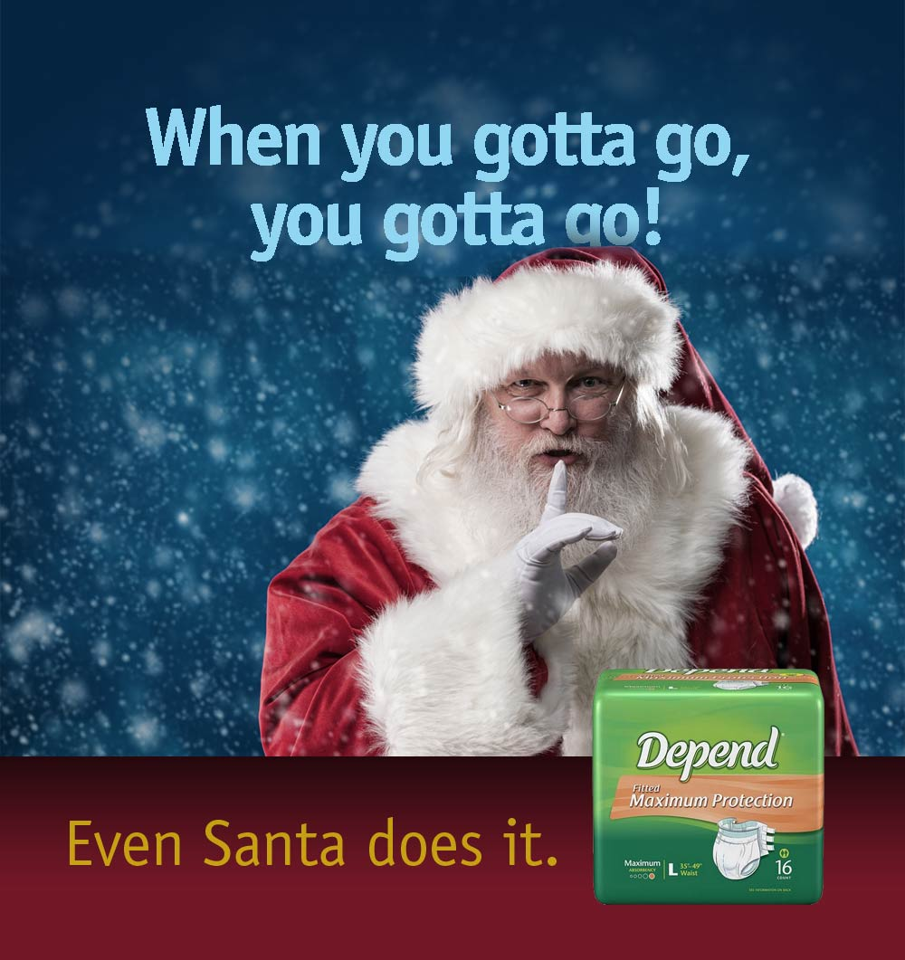 ad for Depend adult diaper showing Santa Clause