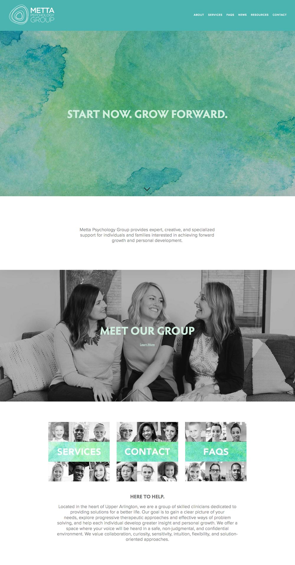 Metta Psychology homepage by Columbus website design firm Sevell