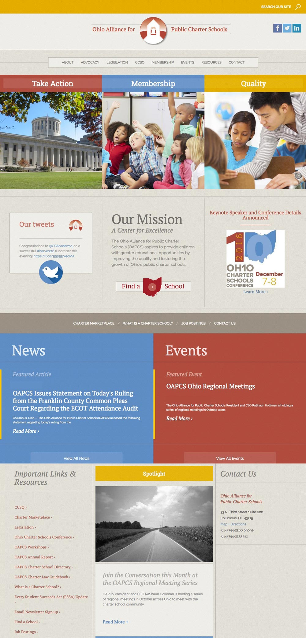 OAPCS homepage by Columbus website design form Sevell