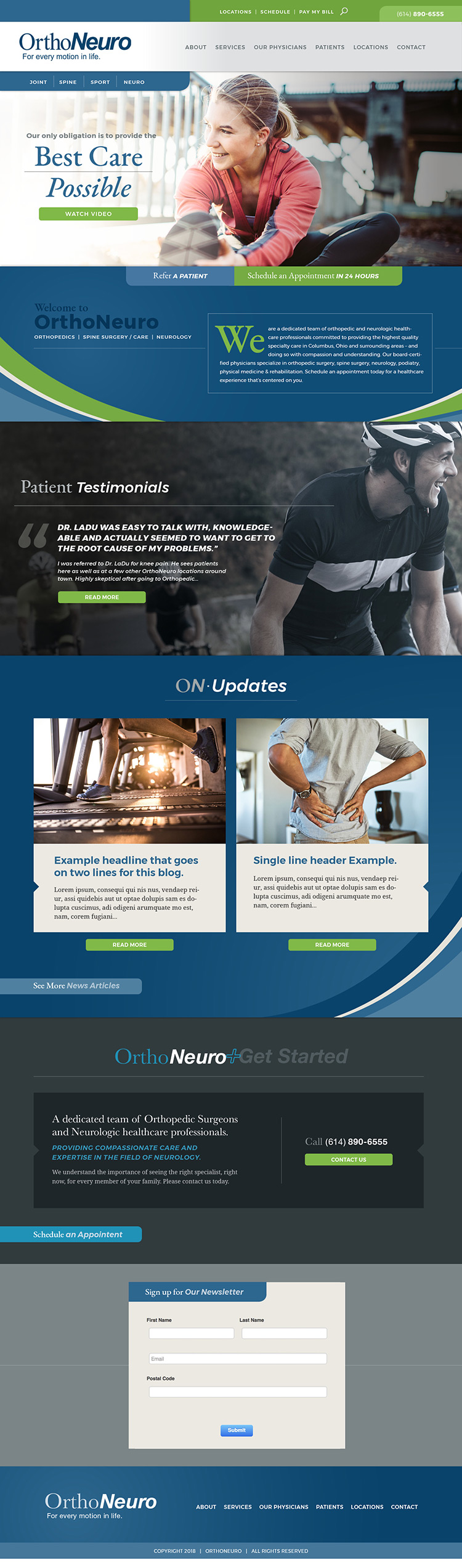 OrthoNeuro homepage design by Columbus Oh website design firm Sevell