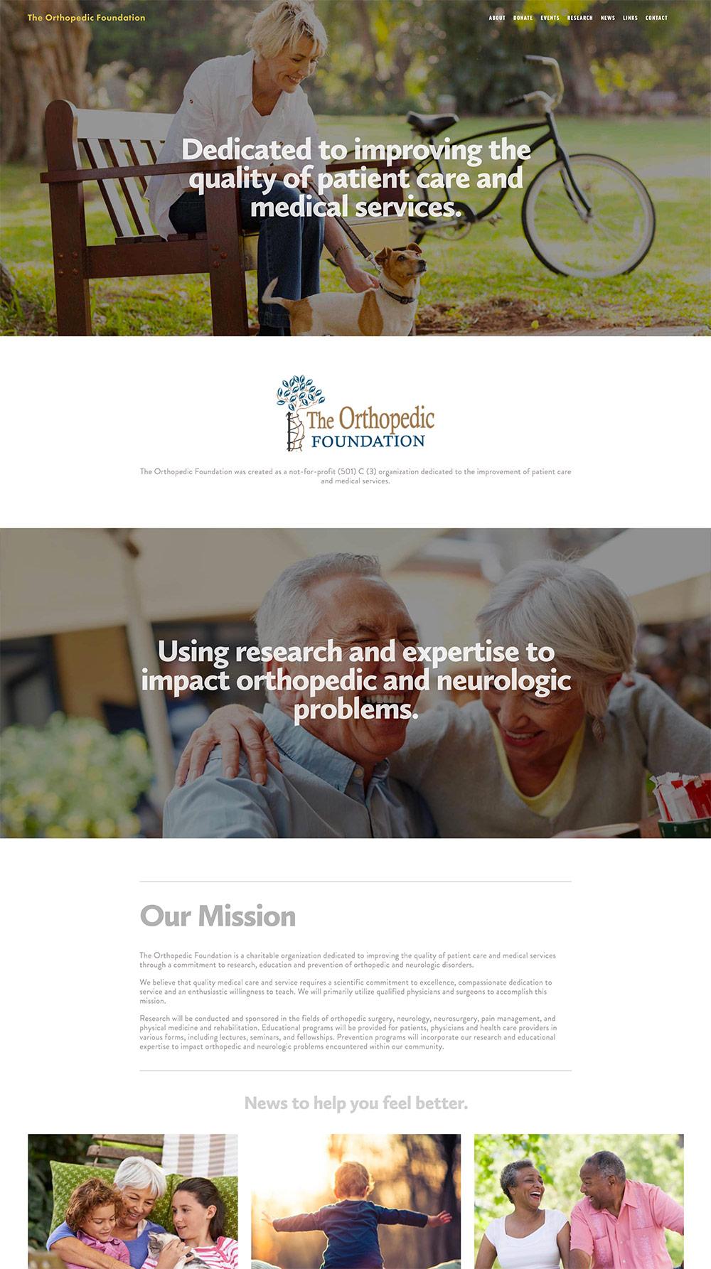 Orthopedic Foundation Website Design Example