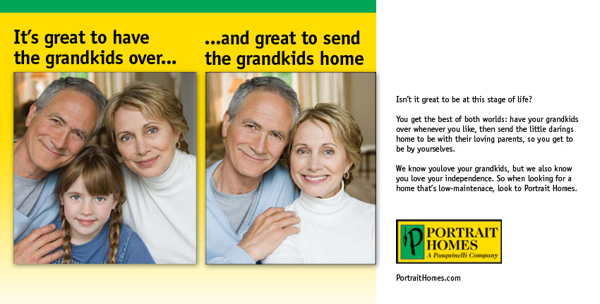 grandparents with and without their grandkid, ad done by Columbus marketing firm, Sevell