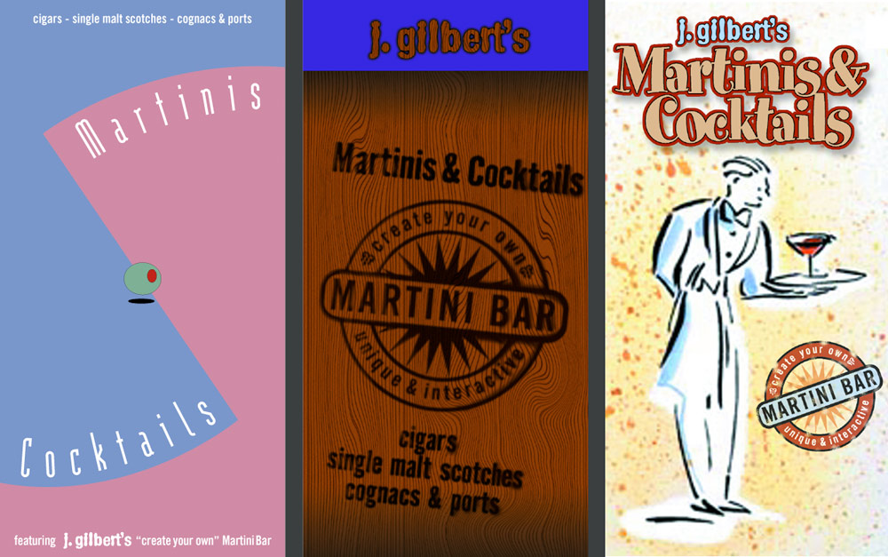 series of drink menus for J. Gilberts
