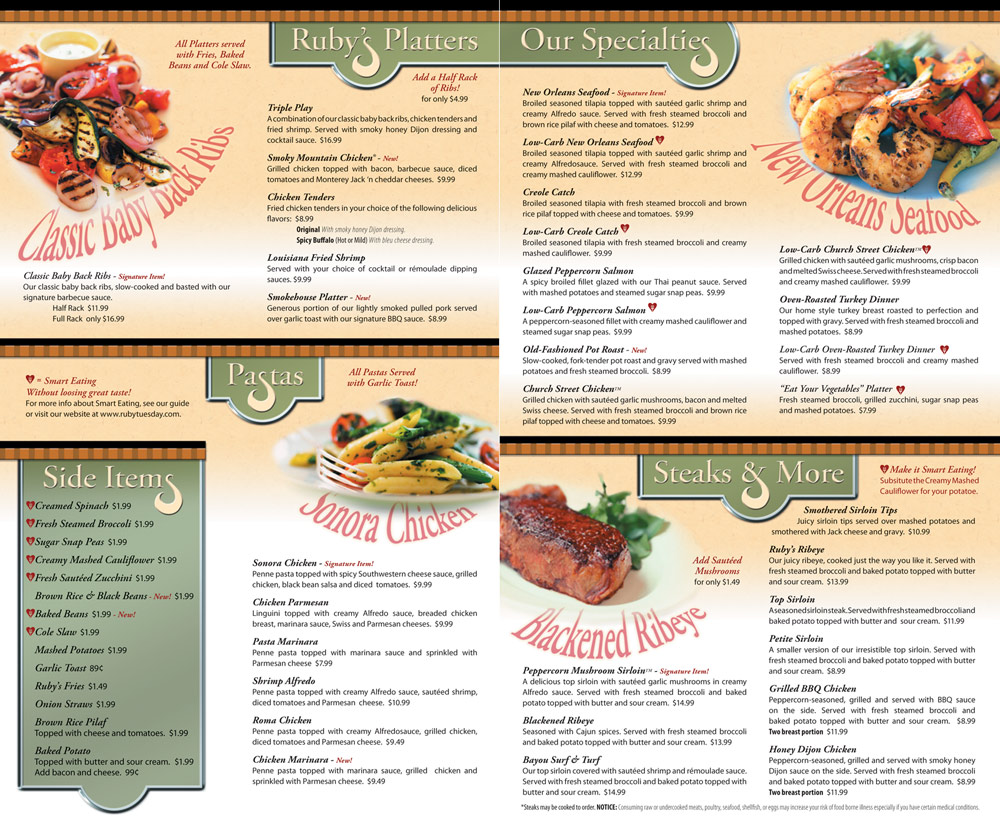friendly-looking spread of fodod and menu items