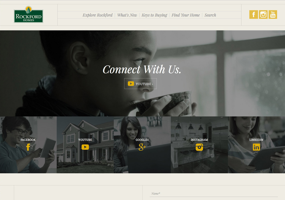 Connect with us page of Columbus web designers' Rockford Homes website