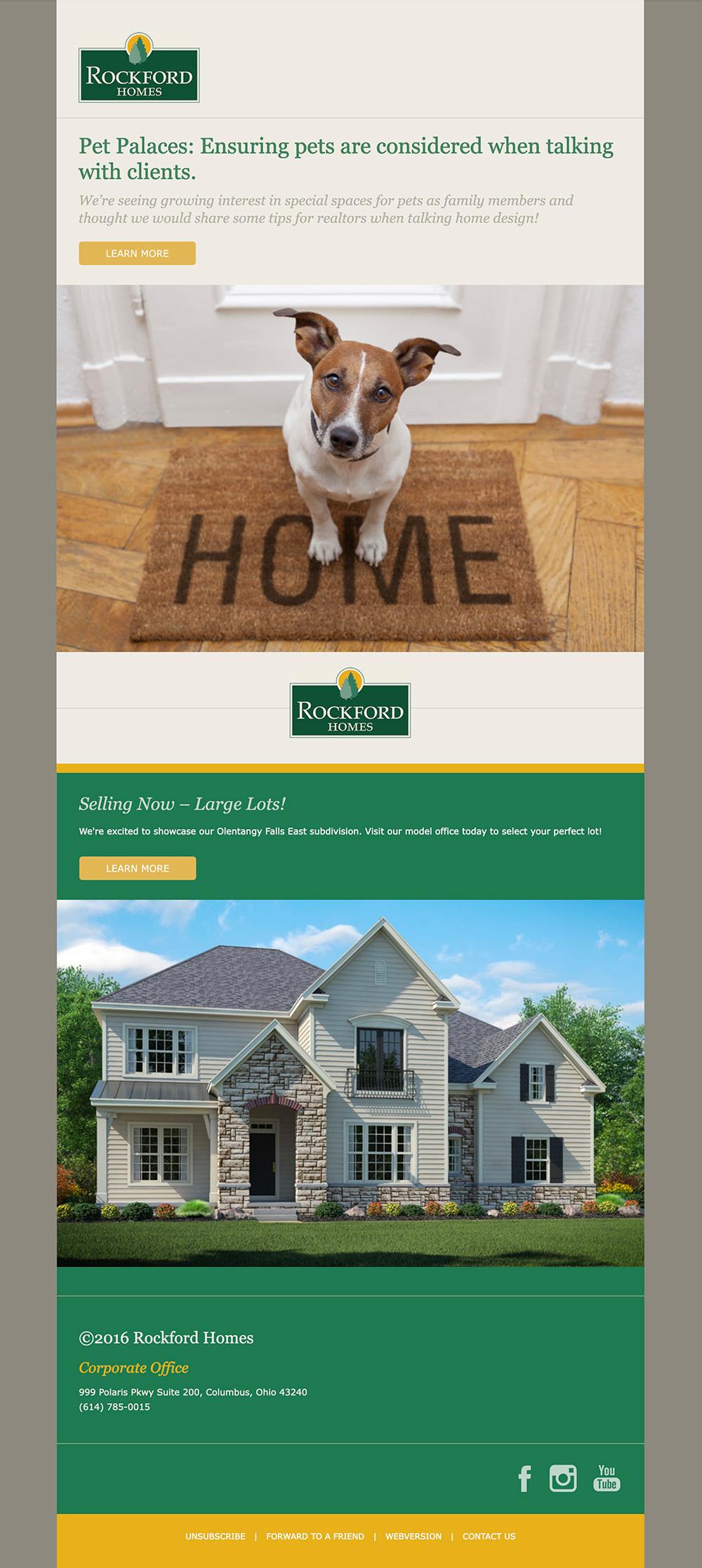 screenshot of Rockford Homes e-newsletter