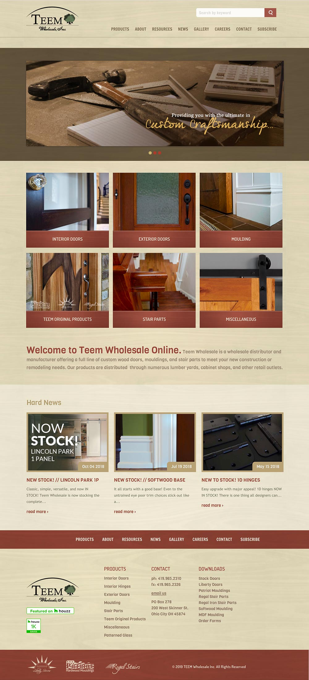 Screenshot of TEEM Wholesale homepage