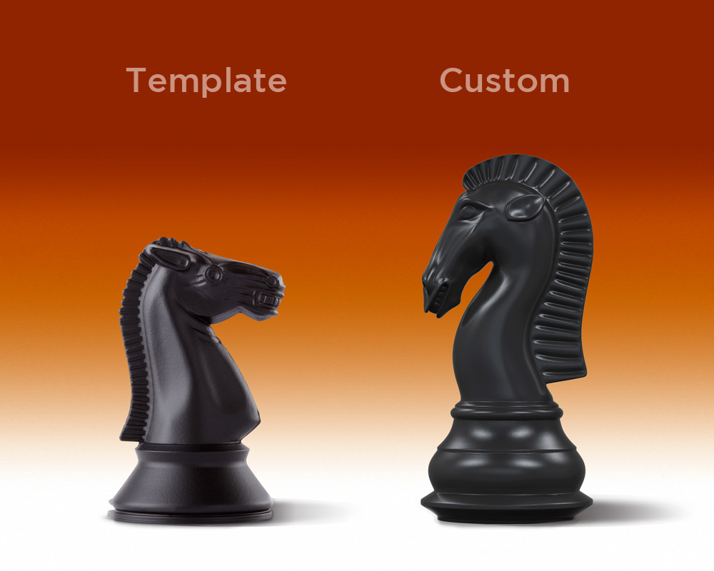 plain and ornate chess piece analogy by Columbus web design firm